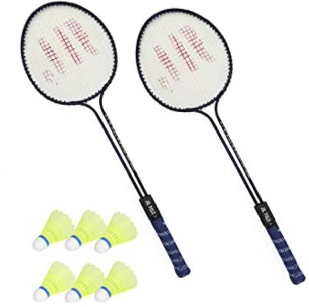 AS Badminton Set Of 2 Piece Racquet with 6 Piece Plastic Shuttlecocks Badminton Badminton Kit