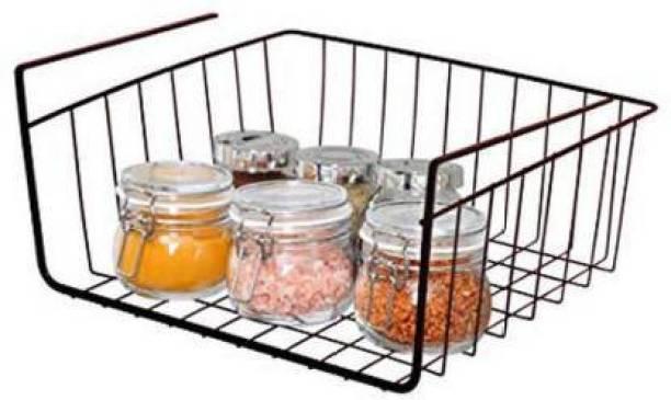 dewberries Under Shelf Organizer Basket for Kitchen Cupboard/Almirah - 12 inch (Black) Kitchen Rack (Iron) Containers Kitchen Rack