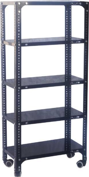 ALIJA 5\ Shelves Slotted Angle Rack (48 x 24 x 12 Inch) with Castor/wheel (200kg capacity) 360° Movable unit (22 Gauge shelf 16 gauge angle) (Black) Luggage Rack