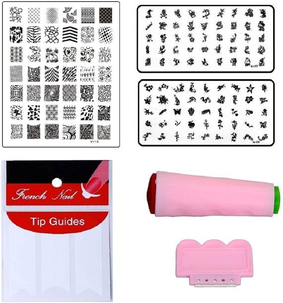 Royalkart Nail Art Combo Kit With 2pcs Small Stamping Image Plates (TO-03,09), 1pc Large Stamping Image Plate(XY16) & French Manicure Finger Tip Guide