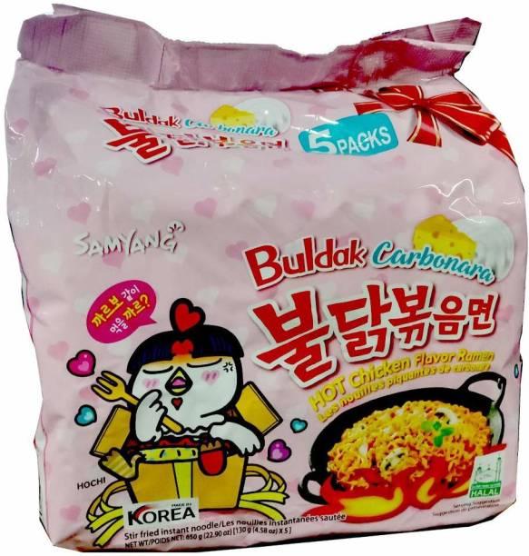 Samyang Hot Chicken Ramen Carbo Noodles-130X5 (Pack of 5) (Imported) Instant Noodles Non-vegetarian