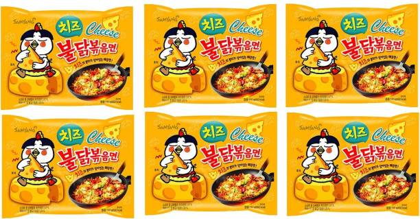 Samyang Hot Chicken Ramen Buldak Cheese Noodles, 140X5 (Pack of 6) Imported Instant Noodles Non-vegetarian