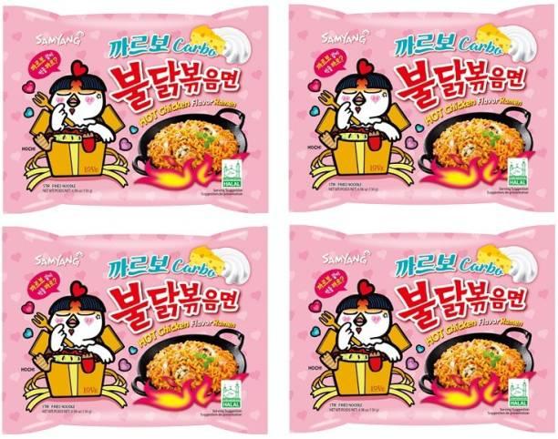 Samyang Hot Chicken Ramen Carbo Noodles-130X4 (Pack of 4) (Imported) Instant Noodles Non-vegetarian