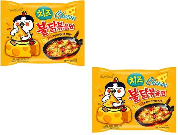 Samyang Hot Chicken Ramen Buldak Cheese Noodles, 140X2 (Pack of 2) Imported Instant Noodles Non-vegetarian