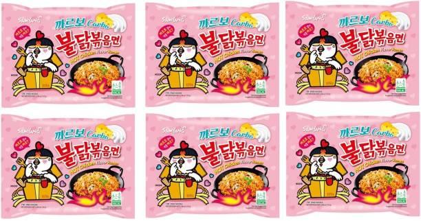 Samyang Hot Chicken Ramen Carbo Noodles-130X6 (Pack of 6) (Imported) Instant Noodles Non-vegetarian