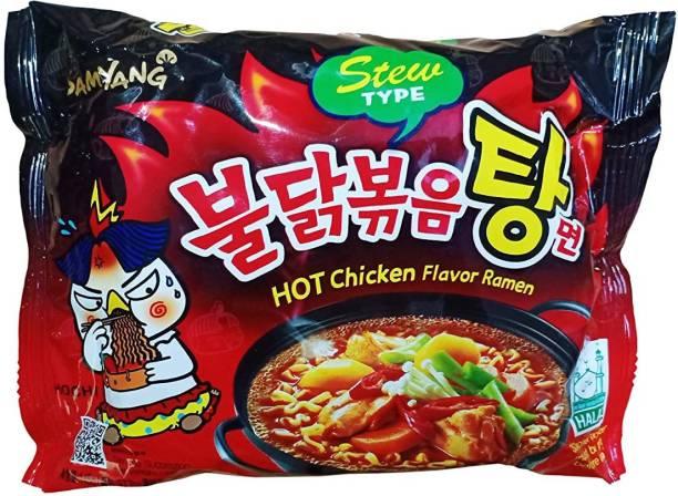 Samyang Hot Chicken Flavor Ramen Noodles Stew Type, 5 X 145 g Instant Noodles Non-vegetarian