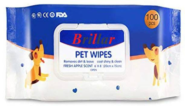 Brillar Pet Soft Wet Wipes for Dogs & Cats Pet Ear Eye Wipes