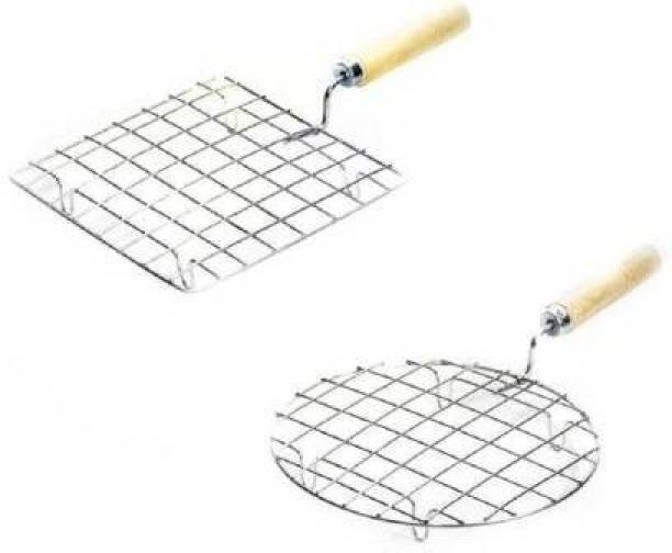 Country hub Stainless Steel Roaster Tandoor Paneer Roti Roaster Net Jali Papad Jali Barbecue Grill with Wooden Handle,Round + Square ( Set OF 2 )Papad Jali Roti Roast Grill with Handle Roaster Circle Chapati Toast Wooden Barbeque Silver paneer tandoor,papad-chapati-roti-grill-jali-with-wooden-handle ,Roti Jari Roti Roast Grill Papad Roaster Grill Chapati Toast Grill Wooden Handle Material Stainless Steel Wire Roaster - its uses to Roast Roti Papad, Tomato ,Chapati, Toast, Baigan Bharta, and more vegetables, Multipurpose Roasting tool Strong Sturdy handle for better grip Great for making Roti, chapatti, papad,pizza(Square+Round 10 inch)(Set of 2) 0.5 kg Roaster