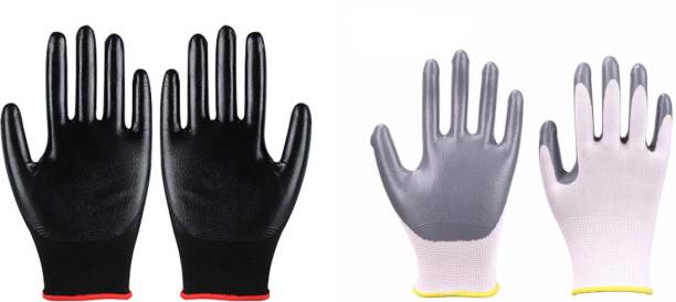 SS & WW SSWW 2 PAIR COMBO BOTH PAIRS ARE NITRILE COATED ONEGREY AND OTHER BLACK FOR PAINTING VEGETABLE CUTTING AND OTHER HOUSE HOLD DAY TODAY WORK FOR CLEAN HANDS NO CUT NO ABRASION Nitrile  Safety Gloves