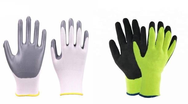 SS&WW SSWW 2 PAIR COMBO ONE PAIR NITRILE COATED AND OTHER RUBBER USED FOR PAINTING VEGETABLE CUTTING AND OTHER HOUSE HOLD DAY TODAY WORK FOR CLEAN HANDS NO CUT NO ABRASION Synthetic, Nitrile  Safety Gloves