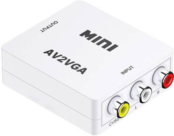 Terabyte AV2VGA Video Convertor Box AV RCA CVBS to VGA Video Converter Conversor with 3.5mm Audio to PC HDTV ConverterAV2VGA Video Convertor Box AV RCA CVBS to VGA Video Converter Conversor with 3.5mm Audio to PC HDTV Converter Media Streaming Device