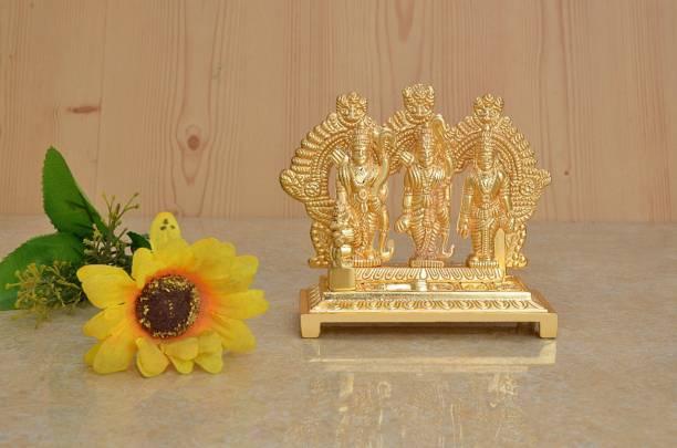 AJ Creations Shri Ram Darbar Idol| Figurine| Showpeice- Sitting Hanuman Ji Home Decorative ( Gold Metal Plated)- For Pooja, Anniversary Gift, Wedding Gift, New Year Gift, House Warming Gift, Diwali Gift Decorative Showpiece  -  19 cm