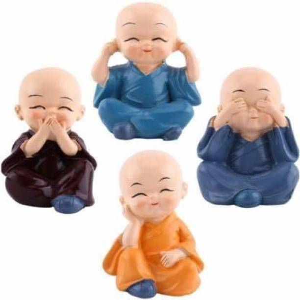 Artistry craft Cute small monk set of four Decorative Showpiece  -  5 cm