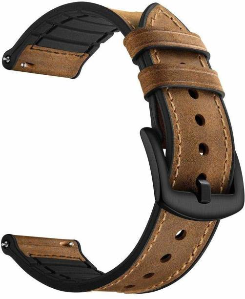 gettechgo Premium Leather Plus Inside Silicon 22mm Replacement Strap Band Compatible for Galaxy Watch 3 45mm/Galaxy 46mm/Gear S3 Frontier,Classic/Amazfit Pace Stratos,Stratos+,Stratos3 /Huawei GT2 46mm/Honor Magic Watch 2 (46mm) & Smartwatch with 22mm Lugs (Dark Brown) Smart Watch Strap