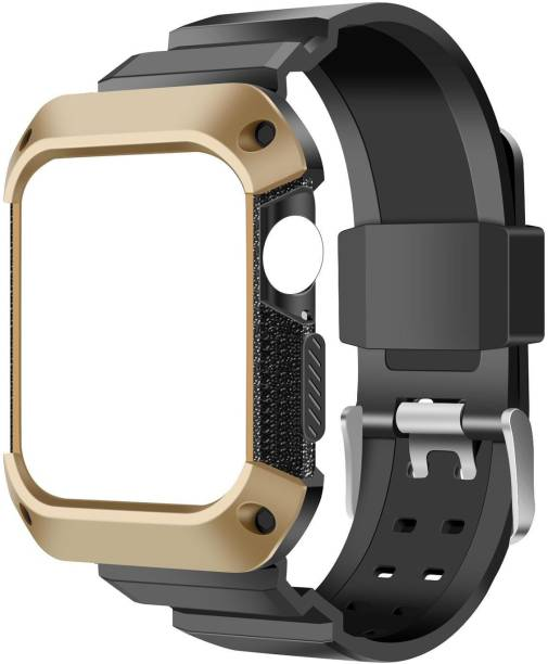 AirCase Rugged Protective Case with Strap for Apple Watch Series 6/ SE/ 3/ 5/ 4, 40mm 38mm Smart Watch Strap