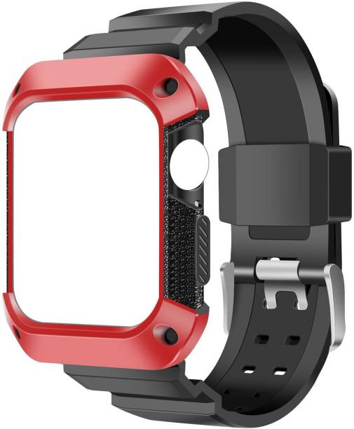 AirCase Rugged Protective Case with Strap for Apple Watch Series 6/ SE/ 3/ 5/ 4, 44mm 42mm Smart Watch Strap