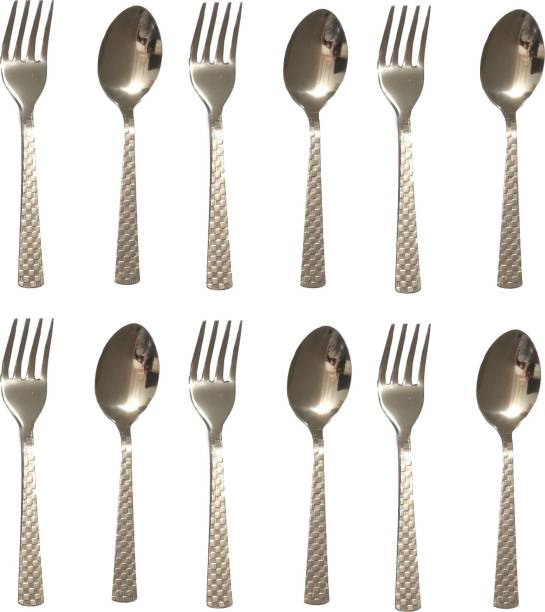 Vilsa 6 Fork & 6 Table Spoont Set Stainless Steel Cutlery Set