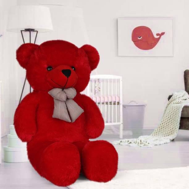 Dani Daniels 3 Feet Stuffed Spongy Huggable Smartoys Cute & Soft Red Teddy Bear - 90 cm (Red) - 90 cm (Red)  - 90 cm