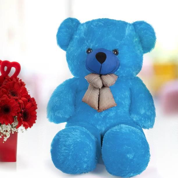stuffed toy 3 Feet Cute Blue Fur & Heart Teddy Bear  - 90 cm