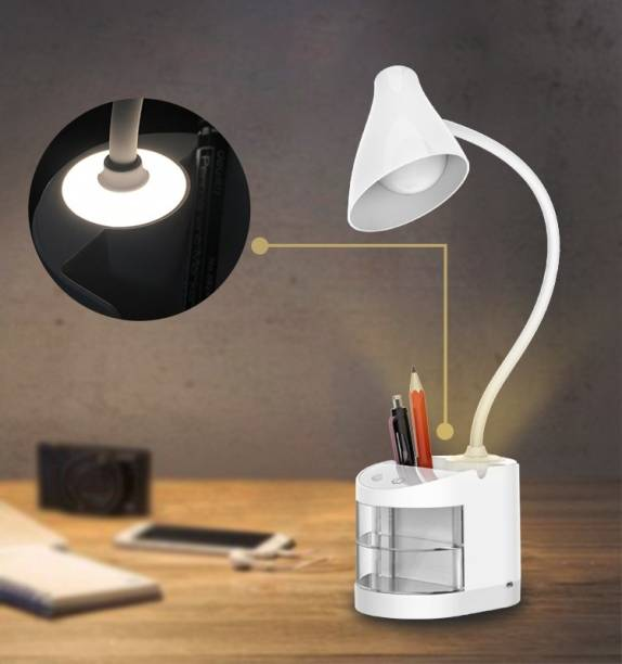 AZACUS Top & Best Selling Student's Choice Chargeable Desk Lamp With Organiser, Phone Holder, Night Light, Pin Stand Table Lamp for Dorm Room Study Desk, 2200mAh Rechargeable Battery Operated (Pen Holder + Mobile Stand + Drawer + Night Light + Eye Care)( Colour - White ) (Study Lamps for Student) Table Lamp