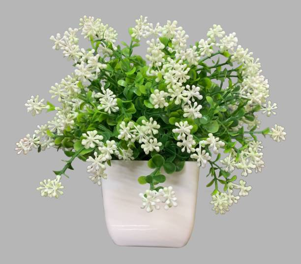 Litleo Table Top Mini Dotted Flower for Home Office Decoration or Gift White Peony Artificial Flower  with Pot