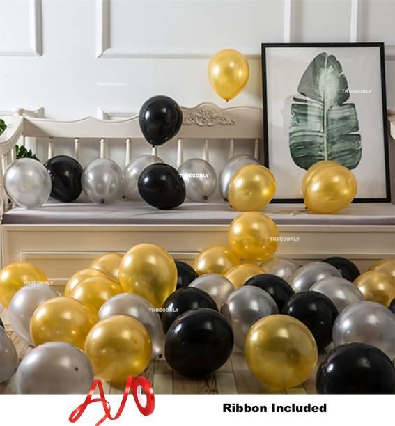 TNDECORLY Solid HD Metallic balloons (51 Pcs) Balloons with Ribbon Balloon