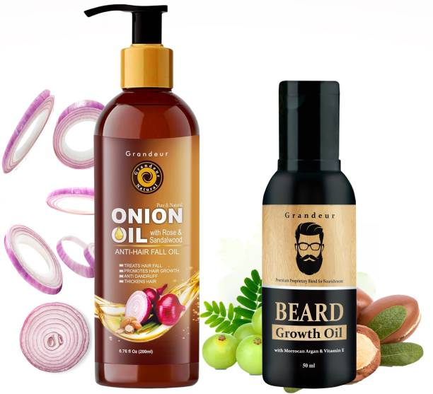 Grandeur Hair Fall Defence Onion Hair Oil For Hair Fall 200ml & Beard Growth Oil for Thichker & Fuller Beard 60ml - Combo Pack Hair Oil