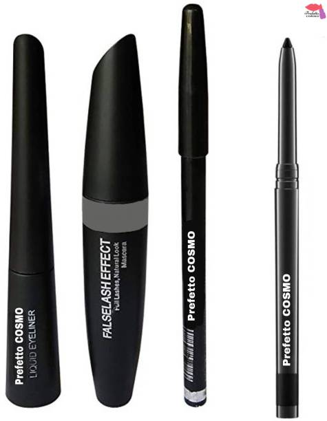 Prefetto COSMO Black Waterproof, Smudge Proof EYELINER with MASCARA ,EYEBROW PENCIL (3in1) and KAJAL