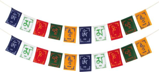 PARTY MIDLINKERZ Tibetian Buddhist Prayer Flags for Car and Bike (Combo Pack) Rectangle Car Window Flag Flag