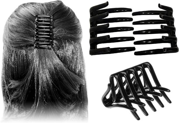 BHARATGAURAV French Juda Crab Interlocking Glossy Black Colors Hair Clip Side Comb Pack of 2 Pieces Hair Clip