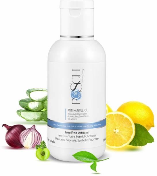 Posch Anti Hairfall Onion Oil Enriched with Neem, Aloe Vera, Amla, Brahmi, Green Tea & Lemon- 100ml Hair Oil