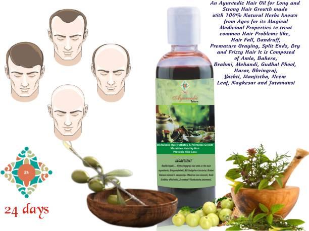 24 DAYS Ayurvedic Hair Regrowth Oil, Prevents Hair Loss, Stimulates Hair Follicles and Maintain Healthy Scalp Hair Oil
