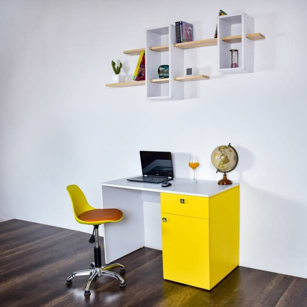 Torche action tesa hard board office study table / kid study table /Laptop / Computer Table Desk for Home & Office. (Castor Study table..Yellow) Solid Wood Study Table