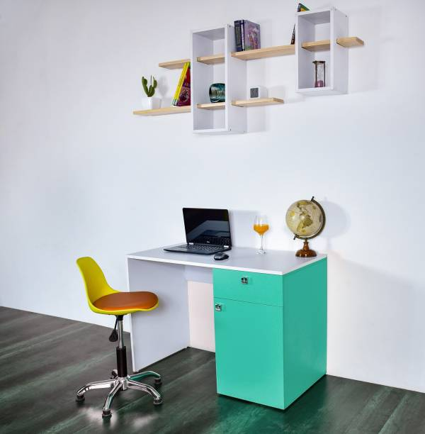 Torche action tesa hard board office study table / kid study table /Laptop / Computer Table Desk for Home & Office.(Castor Study table..Caribe green) Solid Wood Study Table
