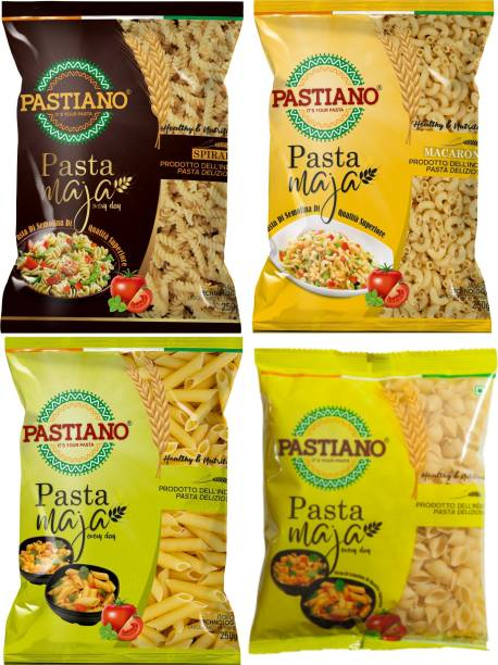 PASTIANO 4 shapes of pasta- Macaroni, Penne, Fusilli, Shells Elbow Macaroni, Macaroni, Shell, Penne, Spirali, Fusilli Pasta