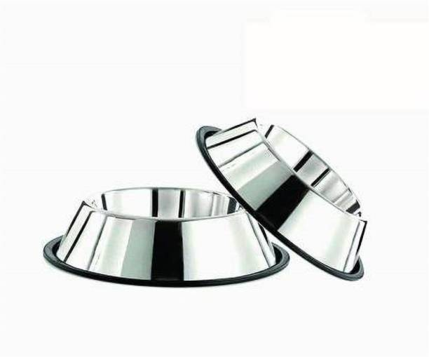 ALCAZAR ALC set of 2 non tip stainless steel bowls Large Round Stainless Steel Pet Bowl (1800 ml Silver) Round Stainless Steel Pet Bowl