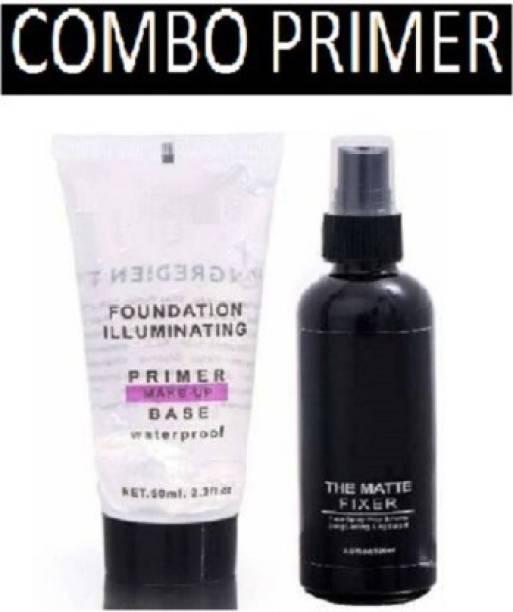 Geemy Makeup Primer Base With Makeup Setting Fixer Spray Primer - 100 Ml (Transparent) Primer - 50 Ml(Transparent)