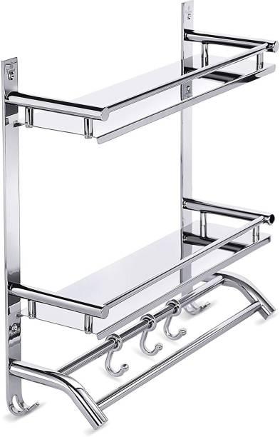 BONIRY Multi use Rack Stainless Steel Bathroom Shelf/Kitchen Shelf/Bathroom Shelf and Rack/Bathroom Accessories Stainless Steel Wall Shelf (Number of Shelves - 2, Steel) Stainless Steel Wall Shelf