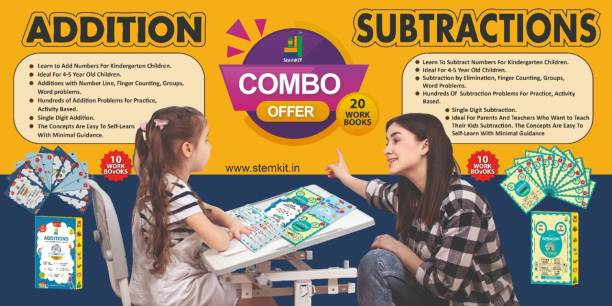 Learn Maths Addition And Subtraction Workbook Combo Set - 20 Workbooks For 4-5 Year Olds UKG, Grade 1 Workbook