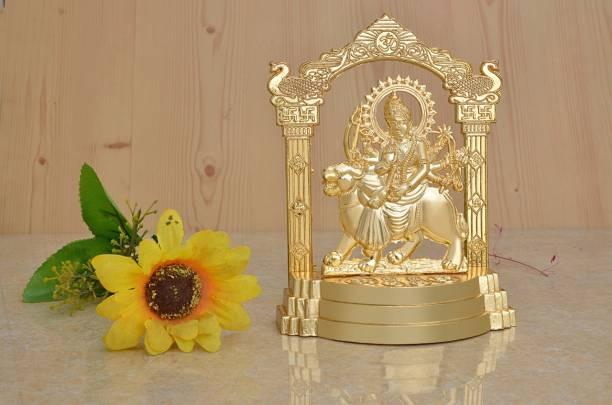 AJ Creations Durga Maa -Vaishno Devi- Sherawali Mata Idol| Murti| Figurine| Statue Gold Metal Plated - For Pooja , Home Decor, Anniversary Gift, Wedding Gift, New Year Gift, House Warming Gift, Diwali Gift Decorative Showpiece  -  14 cm