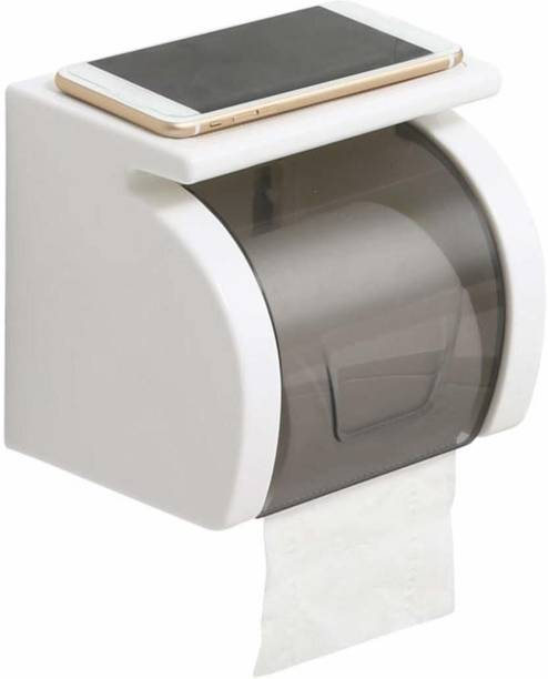 Corslet Toilet Paper Roll Holder Tissue Stand Organizer for Bathroom with Storage Rack Organizer Mobile Stand Plastic Toilet Paper Holder