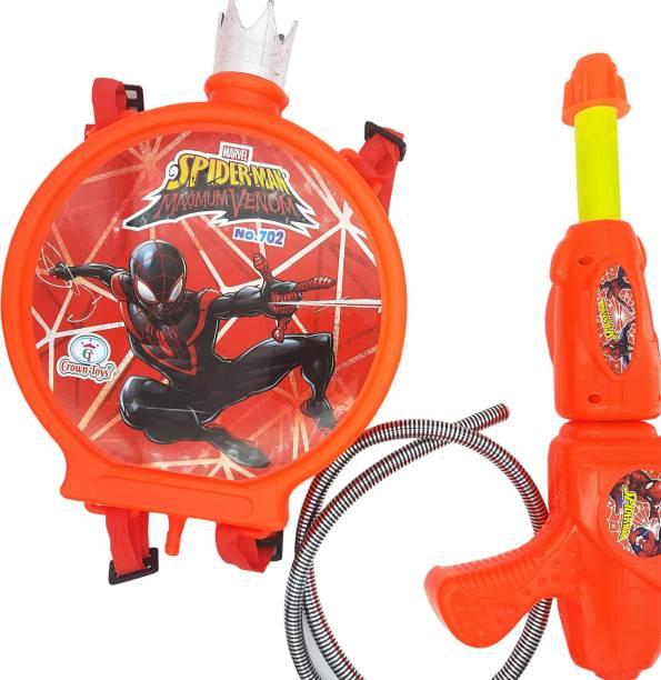Ascension Plastic Spider man Toys Holi Cartoon Water Gun Pichkari Tank for Children Holi Pool Party (Packof 1) Water Gun