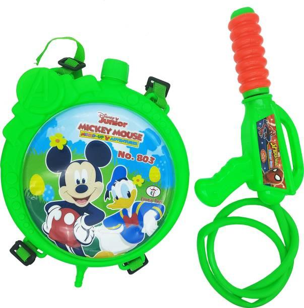 Ascension Plastic Mickey Mouse Toys Holi Cartoon Water Gun Pichkari Tank for Children Holi Pool Party (Packof 1) Water Gun