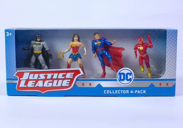 JUSTICE LEAGUE Collector 4 Pack - 3 Inch Action Figure - Batman, Wonder Woman, Superman, The Flash
