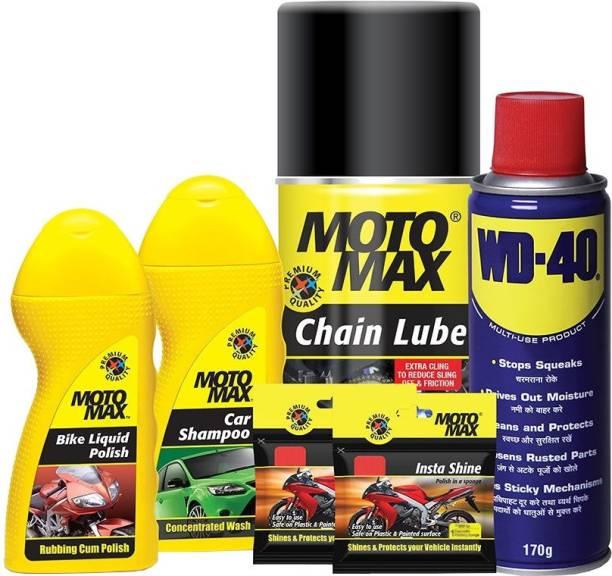 Pidilite Motomax large bike care kit - Bike wash shampoo 100ml, Bike polish liquid 100ml, WD-40 Multi Purpose spray 64g, Instashine polish in sponge- chainpack, chain lube spray 200ml Combo