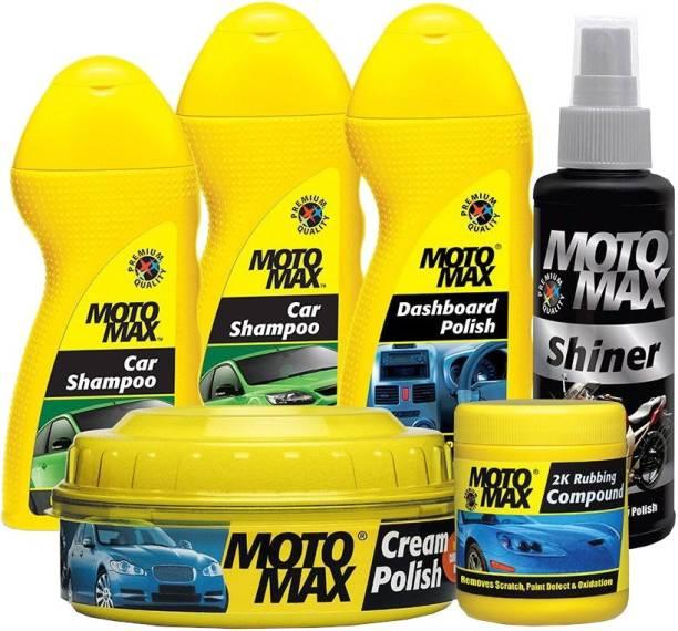 Pidilite Motomax Car care kit with Scratch remover 2k Rubbing Compound 100g, Car wash & Bike care Shampoo liquid 100ml, Dashboard Polish 100ml, Cream Polish with Carnuba Wax 230gm, Shiner 100ml Combo