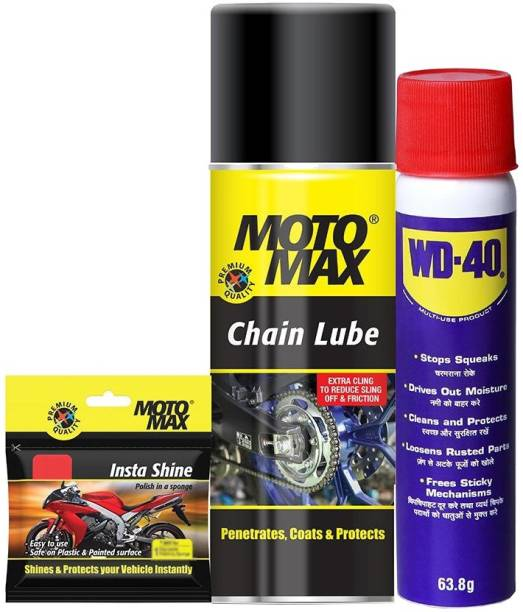 Pidilite Motomax Bike care kit - , Instashine polish in sponge- chainpack 4U, Multipurpose lubricant spray 64g, chain lube spray 100ml Combo