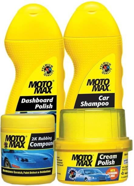 Pidilite Motomax Car care kit with Scratch remover 2k Rubbing Compound 200g, Car & Bike care Shampoo liquid 100ml, Dashboard Polish 100ml, Car shine Cream Polish with Carnuba Wax 60gm Combo