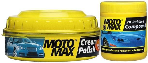 Pidilite Motomax Bike & Car scratch remover with 2k Rubbing compound 200g, Cream Polish with Carnuba Wax 230gm Combo