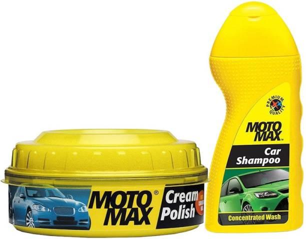 Pidilite Motomax Bike & Car wash shampoo 100ml, Bike and Car Body Cream polish with Carnuba wax and Micro Polishing Agent for shining 230g Combo